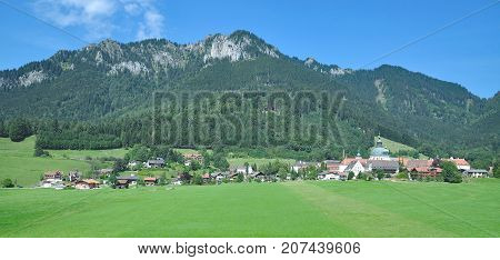 Village of Ettal with famous Ettal Monastery,Oberammergau,upper Bavaria,Germany