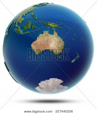 World globe - Oceania. Elements of this image furnished by NASA 3d rendering