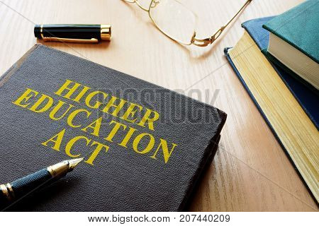 Higher Education Act HEA on a desk.