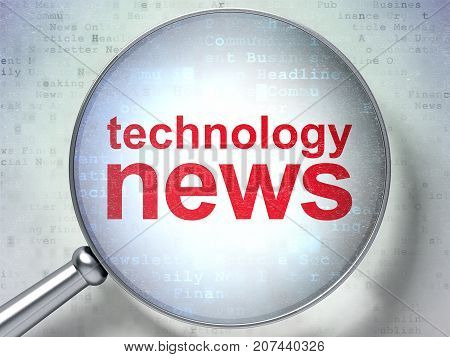 News concept: magnifying optical glass with words Technology News on digital background, 3D rendering