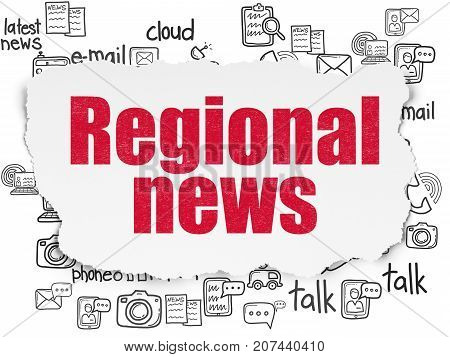 News concept: Painted red text Regional News on Torn Paper background with  Hand Drawn News Icons