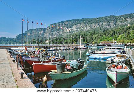 Harbor in Village of Garda at Lake Garda,Verona Province,Veneto,Italy