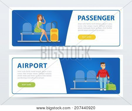 Banners set of relaxed people with luggage in the airport lounge room. Passengers with suitcases waiting for departure. Vector flat design illustrations isolated on white. Business travel concept.