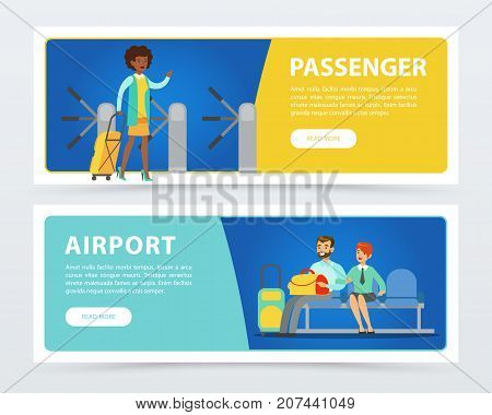Set of flat design horizontal banners airport theme. Woman with luggage walking through turnstile. Couple passengers with suitcases at the lounge room waiting for departure. Business travel concept.