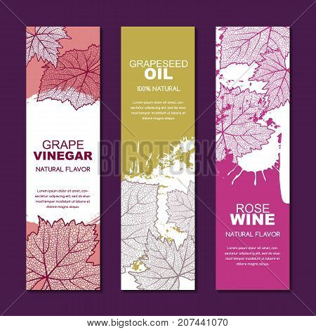 Set Of Vector Label, Package Concept For Red, Rose, White Wine List, Grapeseed Oil Or Grape Vinegar.
