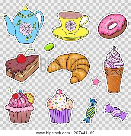 Set of various sweets on white background.Stickers for scrapbooking, gift boxes, skins, cases, wallets, craft etc. Vector illustration.