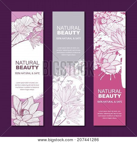 Vector Backgrounds For Label Or Package For Natural Herbal Cosmetic, Asian Spa And Massage. Sketch L
