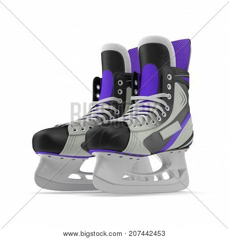 Pair of the Hockey ice skates for girls, isolated on a white background. 3D illustration