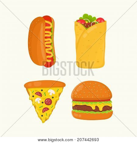 Hot dog, burrito, pizza, burger, cheeseburger. Flat vector cartoon isolated meal, delivery, cafe, fun illustration icon set. Isolated on white background. Fast food menu concept
