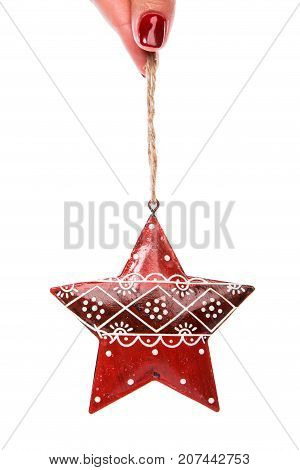 Red Christmas Tree Decor In Form Of Star With Ornament