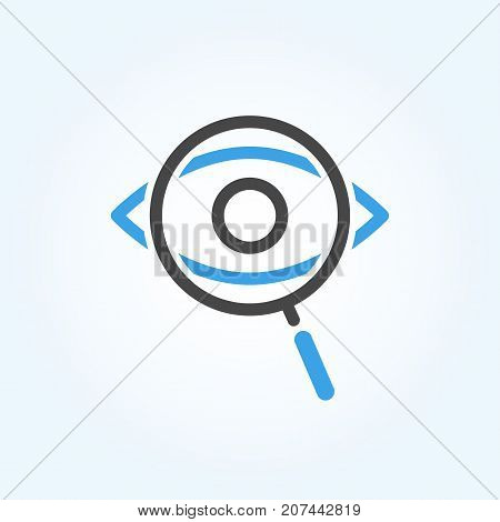 Searching Eye with magnifying glass investigation concept icon design. Isolated on white background. Vision logo concept.