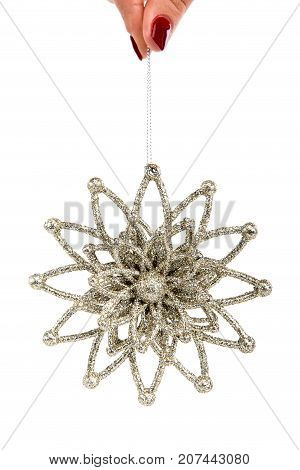 Christmas Tree Decorative Toy Delicate Star With Sparkles