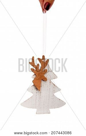 Wooden Christmas Tree Decorative Toy White Fir