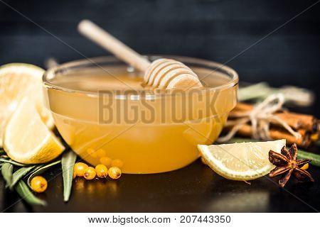 Plate With Honey Closeup