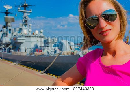 Attractive Girl At Ship Summer Day Beautiful, Boat, Body, Captain, Face, Fashion