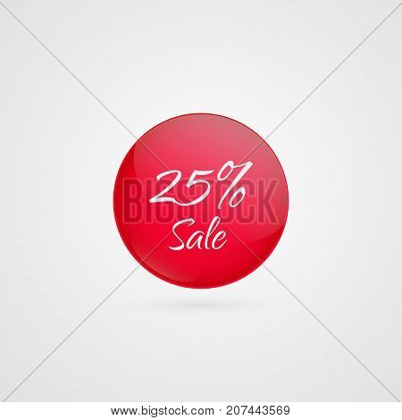 25 percent off vector circle icon. Red and white isolated discount symbol. Illustration sign for sale advertisement marketing project business retail wholesale shopping commerce finance label