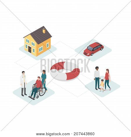 Home car health and family insurance plan with lifebelt at center: financial plans and services concept