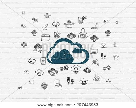 Cloud computing concept: Painted blue Cloud icon on White Brick wall background with  Hand Drawn Cloud Technology Icons