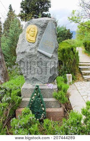 Yalta,Crimea,April 29, 2008:The monument at the grave of the Ukrainian poet Stepan Rudansky on Polikurovsky memorial (former Massandra cemetery)