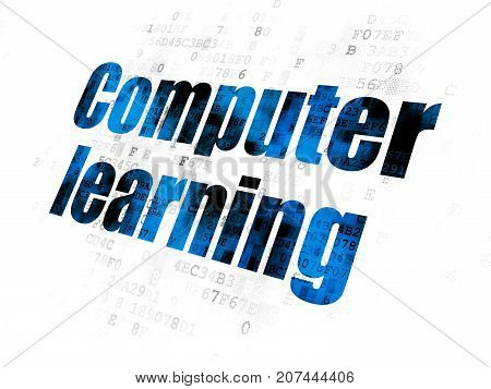 Learning concept: Pixelated blue text Computer Learning on Digital background