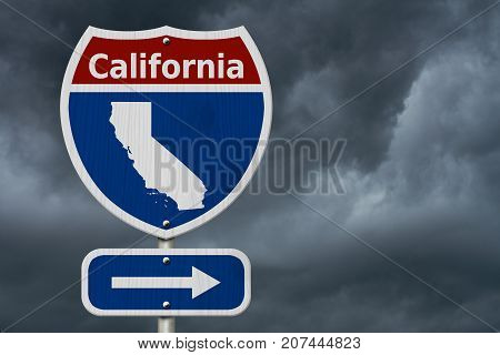 Road trip to California Red white and blue interstate highway road sign with word California and map of California with stormy sky background 3D Illustration