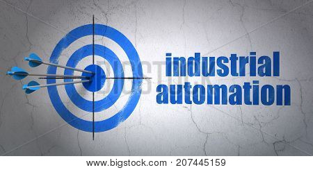 Success Industry concept: arrows hitting the center of target, Blue Industrial Automation on wall background, 3D rendering