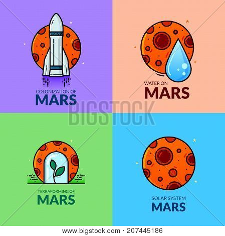 Colonization of Mars, line art concept design, red planet vector illustration