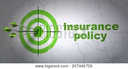 Success Insurance concept: arrows hitting the center of target, Green Insurance Policy on wall background, 3D rendering