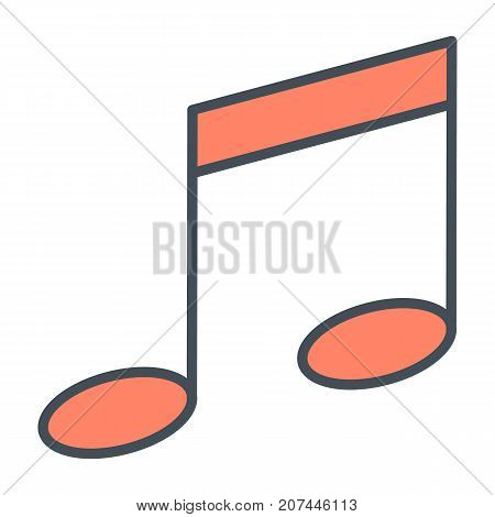 Music note thin line icon. 96x96 for Web Graphics and Apps.  Simple Minimal Pictogram.Vector