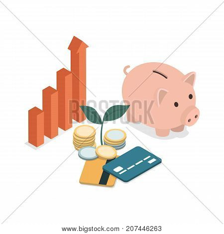 Piggy bank credit cards money and business chart going up: successful business investments and earning concept