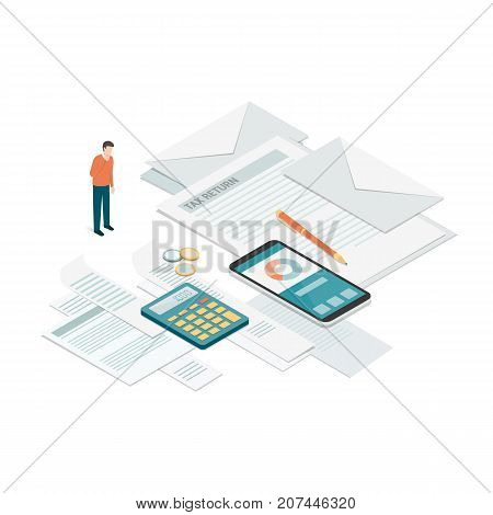 Businessman checking bills invoices and tax forms: payments accounting and business management concept