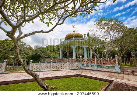 Bandar Seri BegawanBrunei Darussalam-MARCH 312017:Mausoleum of Sultan Bolkiah at Kampung Kota Batu near the city