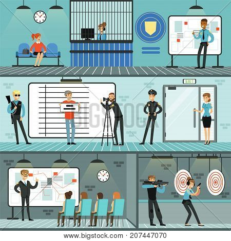 Police department set, policemen at work, investigating crimes, having conference, identifying and arresting criminals, training with gun, office interior horizontal vector Illustrations