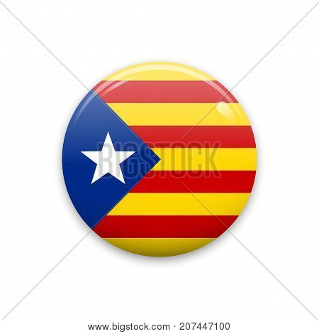 Badge or sticker with Catalonia flag. Isolated on white background. Vector illustration.