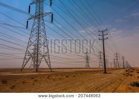 A high-voltage power line in the Riyadh Province, Saudi Arabia