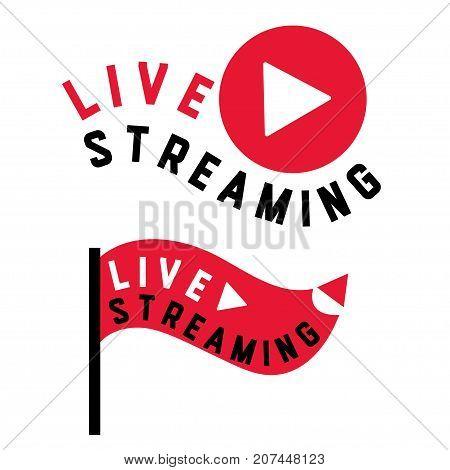 Live stream symbols in flag shape concept. Stock vector illustration for online broadcast tv program digital entertainment.