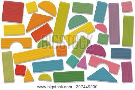Building toy blocks - colored set, loosely arranged with bricks, roofs, spires, pillars and archs - all parts with wooden texture. Isolated vector illustration on white background.