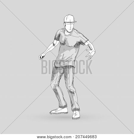Modern Style Dancer Posing Sketch of a Man Dancer on a Gray Background