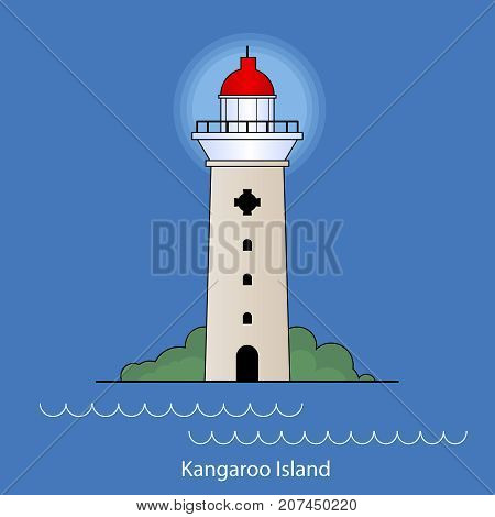 Vector illustration of Cape Couedic Lighthouse Kangaroo island Asutralia