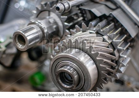 chrome transmission gears of a car motor