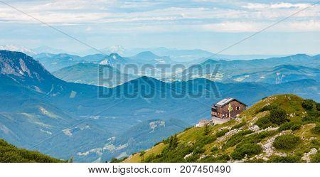 hut on the top of mount traunstein in Austria