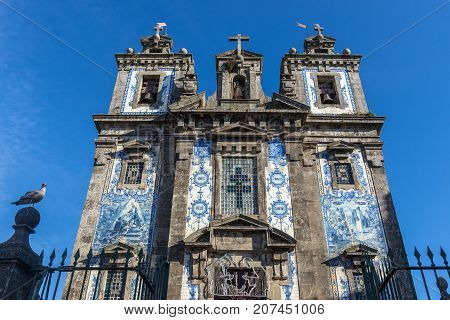 Frontage of Saint Ildefonso Church in Porto city Portugal