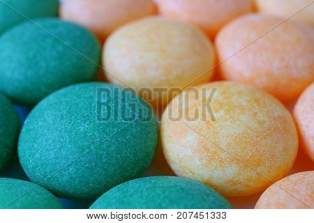 Macro Shot of Delicious Sugar Coated Round Candies, for Texture and Background with Selective Focus