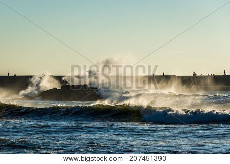 Atlantic Ocean seen from Foz do Douro parish in Porto Portugal