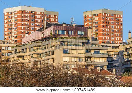 Residential buildings in Foz do Douro district in Porto city Portugal