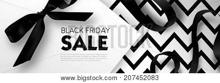 Black Friday sale discount promo offer poster or advertising flyer and coupon. Vector elegant design of piece of paper and realistic black gift bow tie ribbon for premium fashion shop sale on zig zag black background.