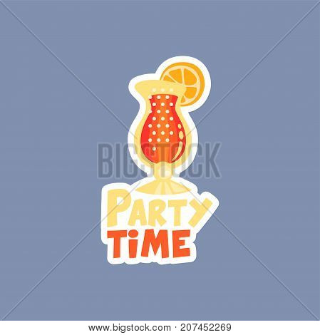 Flat design social network sticker with coctail, party time. Everyday expression. Exotic drink. Funny illustration for online communication, networking, mobile message, chat, cards. Isolated vector