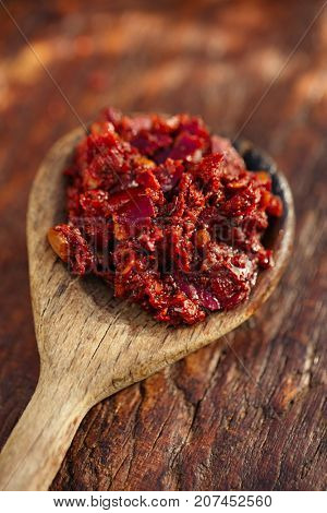Traditional home-made  rose harissa - morrocan red hot chilles paste