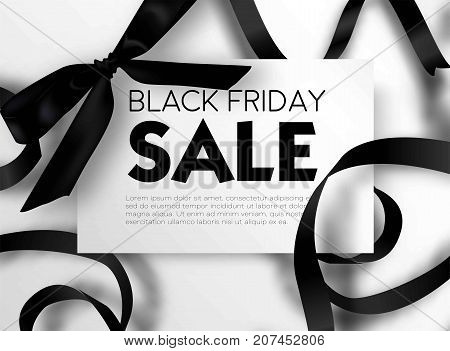 Black Friday sale discount promo offer poster or advertising flyer and coupon. Vector elegant design of piece of paper and realistic black gift bow tie ribbon for premium fashion shop sale on white black background.