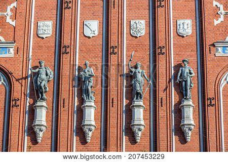 Details of House of Blackheads landmark in Riga Latvia